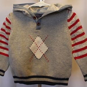 100% cotton boys grey hooded sweater, 24 month